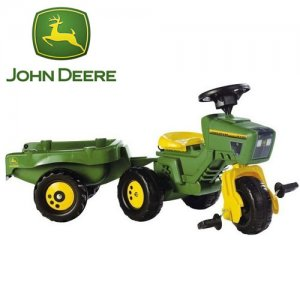 John Deere Pedal Tricycle Tractor and Trailer
