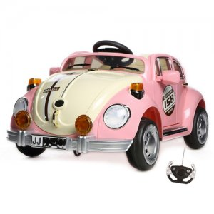 12v VW Beetle Style Pink Retro Ride On Kids Car