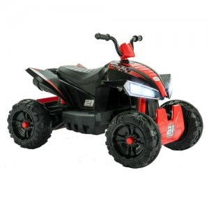 Kids Black & Red 12v Electric Ride On Suspension Quad