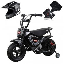 Ultimate Revvi Kids Black 24v Dirt Bike, Helmet & Gloves Set