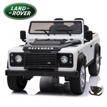 Licensed Two Seat Kids White Land Rover Defender 24v Jeep