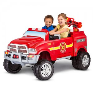 Kids Two Seat 12v Dodge Ram Style Fire Engine with Water Cannon