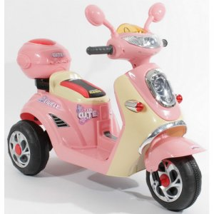 Girls Mini Mod Cute Pink Sorbet 6v Ride On Moped