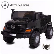 Black Two Seat 12v Mercedes Unimog EVA Tyre Kids Mega Jeep