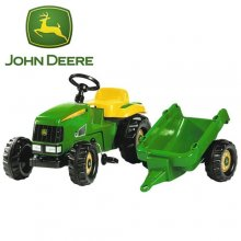 John Deere Style Kids Ride On Pedal Tractor and Trailer