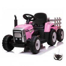 12v Girls Pink Battery Powered Ride On Tractor & Trailer