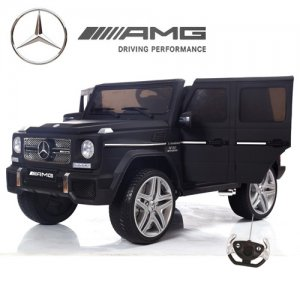 12v Matte Black G65 Mercedes Kids Ride On Jeep with Leather Seat