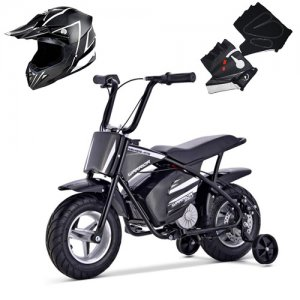 Kids Black 24v Mini Off Road Dirt Monkey Bike & Helmet Set