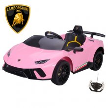 Pink Official 12v Lamborghini Huracan Electric Ride on Supercar