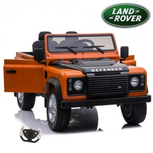 Kids 12v 2 Seater EVA Tyre Orange Land Rover Defender SUV