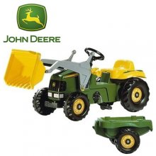 John Deere Quality Childrens Digger and Trailer Pedal Car