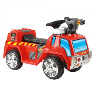 Toddlers 6v Sit On Battery Powered Fire Engine + Bubble Gun