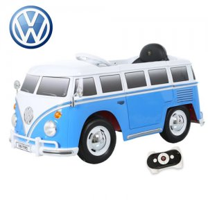 Kids Volkswagen Blue Retro Ride On 12v VW Camper Van