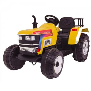 Large Rear Wheel 12V Battery Powered Ride on Tractor in Yellow