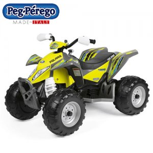 Kids Peg Perego Polaris Yellow 12v Electric Quad Bike