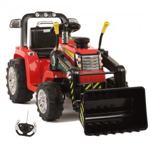 Kids Red Twin Motor Battery Powered 12v Sit On Tractor with r/c