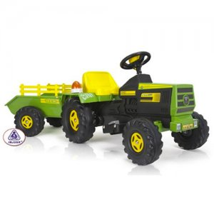 Kids 6v Electric Ride On Farm Tractor & Trailer
