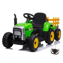 12v Childs Green Sit on Battery Operated Tractor & Trailer