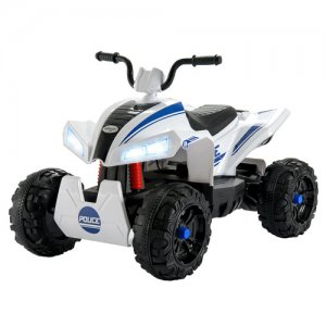 Kids Police White 12v Ride On Suspension Quad Bike
