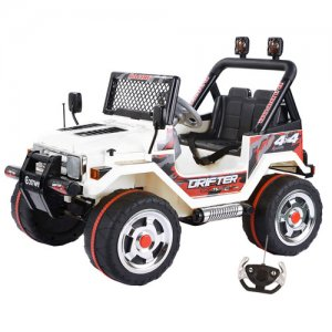 White 12v Two Seater Ride On Mega Jeep with Remote