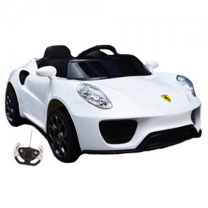 12v Ride-On White Ferrari Supercar Style Sports Car with Remote