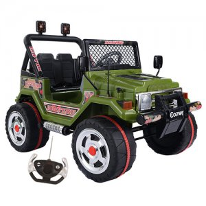 12v Electric Powered 4x4 Green Two Seater Jungle Jeep