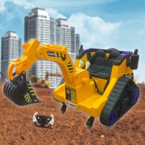 Kids Sit In Electric Construction Excavator Digger with Remote