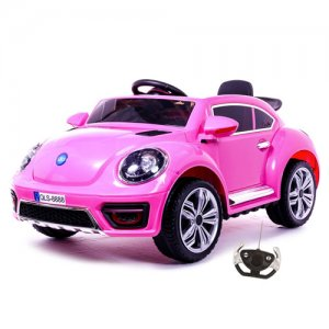 12v New Beetle Style Pink Ride On Car with Bluetooth Remote