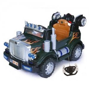 12v Ride-on Green American Style Lorry Truck With Remote Control