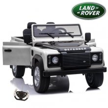 Licensed White 2 Seater Land Rover 12v Defender Kids EVA Jeep