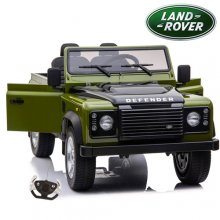 Kids 12v Two Seat Green Land Rover Defender with EVA Tyres