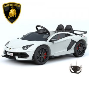 Official 12v White Lamborghini SVJ Wide Seat Supercar with MP3