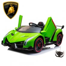 2 Seat Green Kids Lamborghini 24v 4WD w/ Remote & Leather Seats