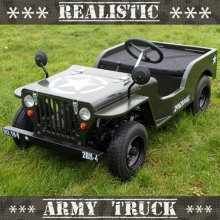 Premium 110cc Realistic Off Road Petrol Kids Army Jeep