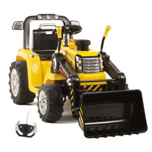 Kids Yellow Electric 12v Ride On Tractor with Remote