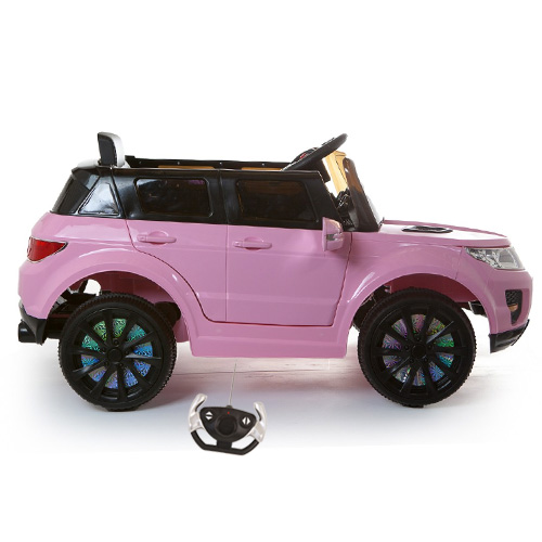 12v Pink Mini Range Jeep with Suspension & Bluetooth Remote - Click Image to Close