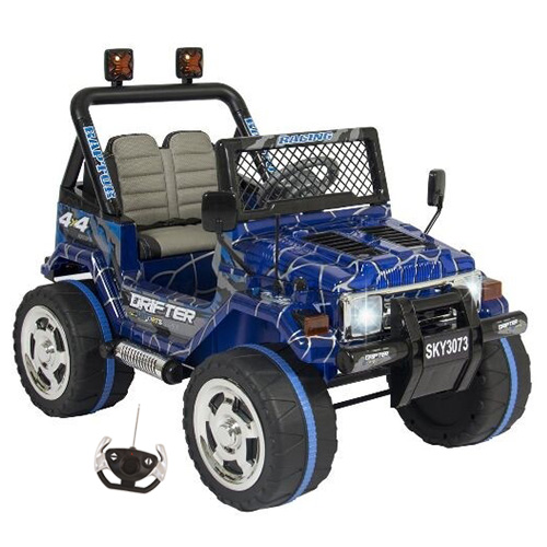 12v Special Edition Blue Two Seater 4x4 EVA Kids Jeep - Click Image to Close