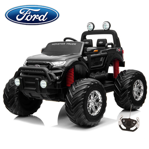 Kids Official Ford Ranger Black 24v Monster Truck with Remote - Click Image to Close
