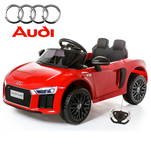 Kids Compact Ride On Red 12v Audi R8 Car with Remote - Click Image to Close