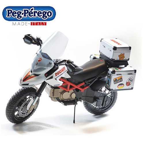 Kids Licensed 12v Ducati Outback Style Motorbike with Storage - Click Image to Close