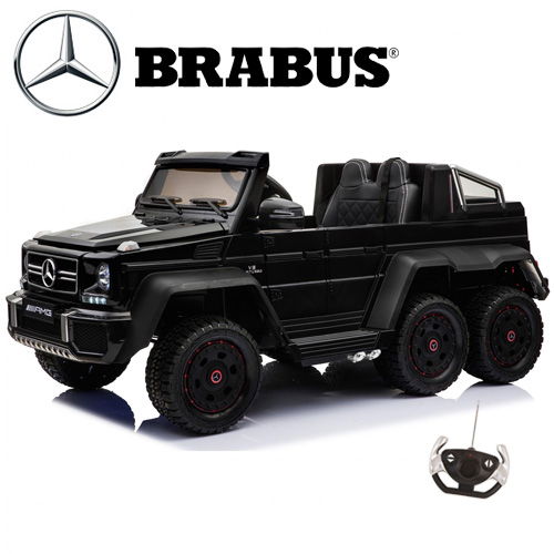 Kids Official Brabus Mercedes 6x6 Black Two Seater 12v Jeep - Click Image to Close