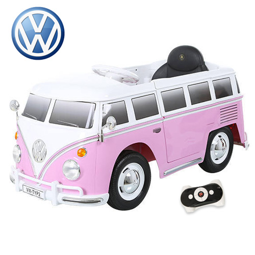 Kids Pink VW 12v Volkswagen Camper Van Ride On - Click Image to Close