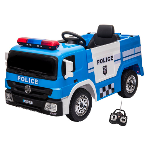 Kids 12v Electric Ride On Police Truck with Parental Remote - Click Image to Close