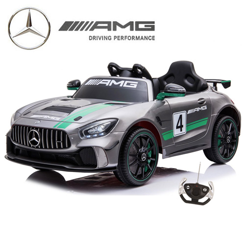Kids Official Silver Mercedes AMG GT4 Ride On 12v Track Car - Click Image to Close