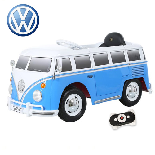 Kids Volkswagen Blue Retro Ride On 12v VW Camper Van - Click Image to Close