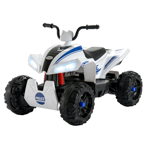 Kids Police White 12v Ride On Suspension Quad Bike - Click Image to Close