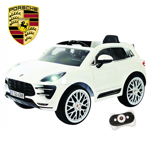 Licensed White 6v Porsche Macan Kids Ride On Jeep With Remote