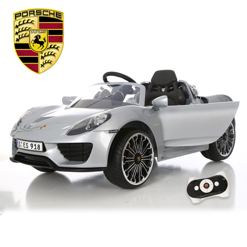Licensed Silver 6v Porsche 918 Kids Ride On Super Car - Click Image to Close