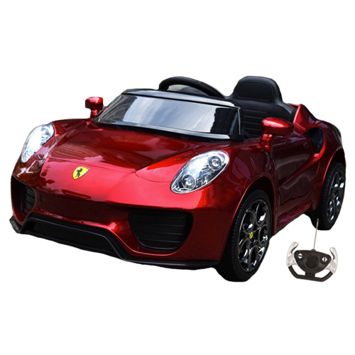 Metallic Red Ferrari Style Supercar 12v Ride On with Remote - Click Image to Close