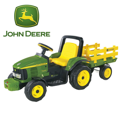 12v John Deere Battery Powered Tractor & Trailer Toy - Click Image to Close